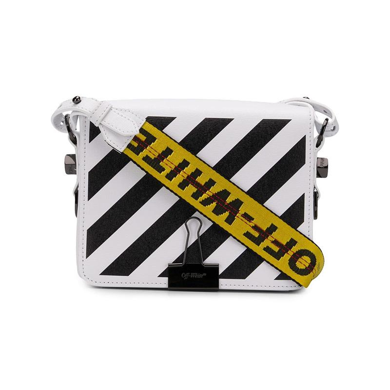 OFF-WHITE(オフホワイト) Diagonal stripe binder clip bag画像