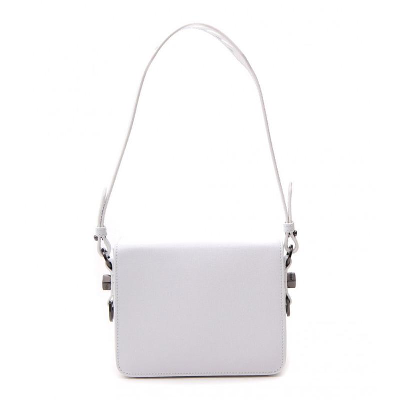 OFF-WHITE(オフホワイト) OFF-WHITE Binder clip white leather shoulder bag画像