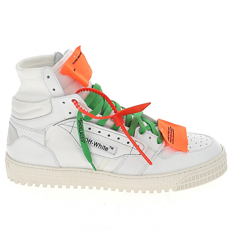 OFF-WHITE(オフホワイト) OFF-WHITE white leather hi top sneakers画像