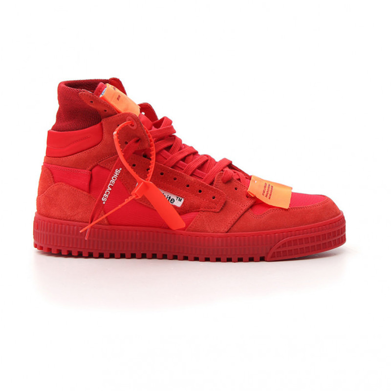 OFF-WHITE(オフホワイト) OFF-WHITE red leather hi top sneakers画像