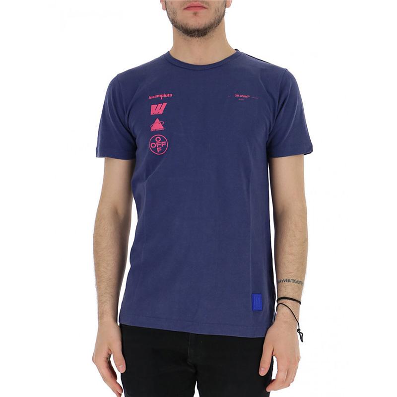 OFF-WHITE(オフホワイト) OFF-WHITE blue cotton t-shirt画像