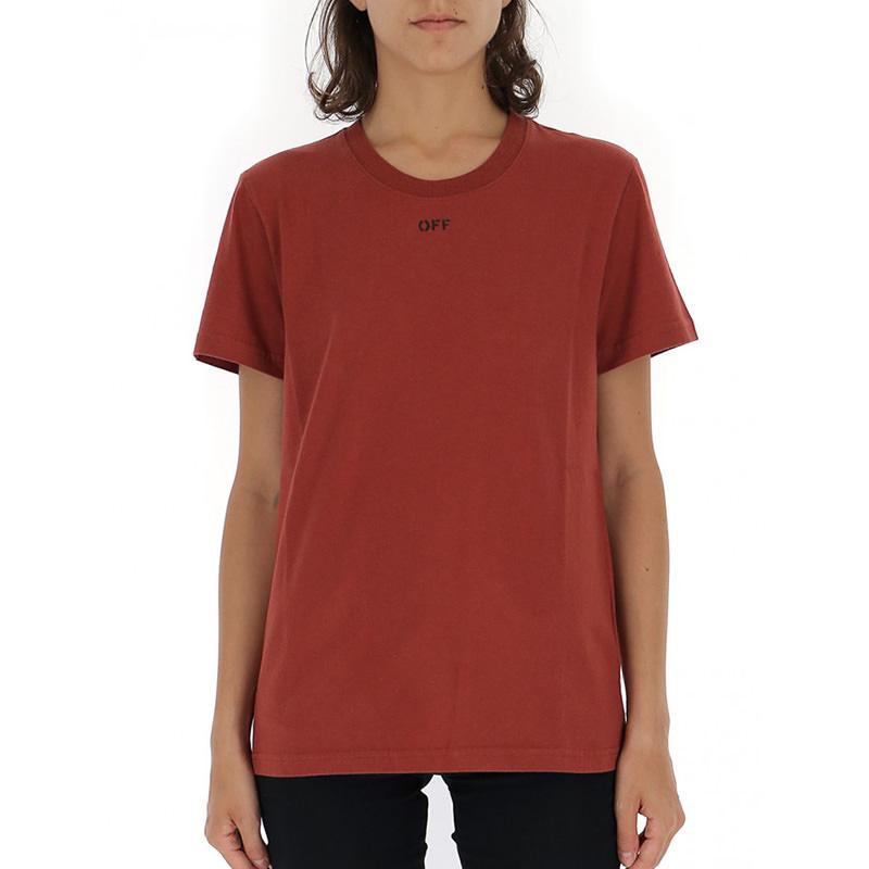 OFF-WHITE(オフホワイト) OFF-WHITE burgundy cotton t-shirt画像